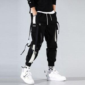 Image 1 - מכנסיים מטען גברים רצים שחור הרמון מכנסיים רב כיס סרטי איש מכנסי טרנינג Streetwear מכנסי קזואל אלסטי מותניים זכר מכנסיים