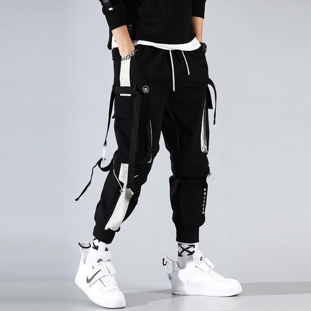 מכנסיים מטען גברים רצים שחור הרמון מכנסיים רב כיס סרטי איש מכנסי טרנינג Streetwear מכנסי קזואל אלסטי מותניים זכר מכנסיים
