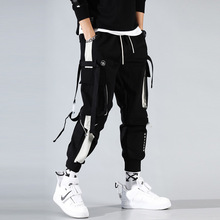Cargo Pants Joggers Men Black Harem Pants Multi pocket Ribbons Man Sweatpants Streetwear Casual Pants Elastic waist Male Trouser