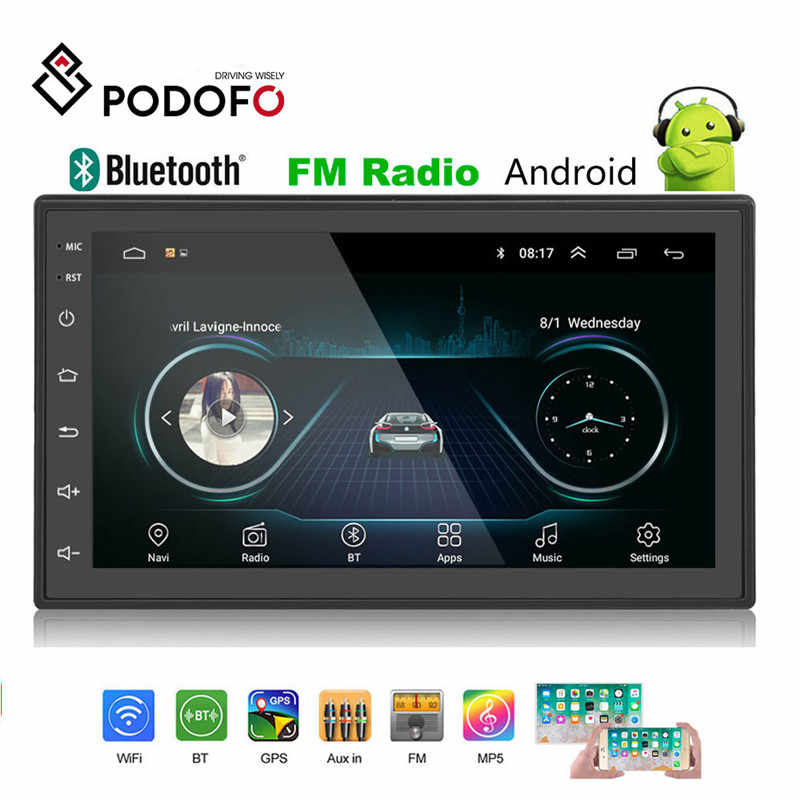 Podofo 2din Mobil Radio Android Multimedia Player Autoradio 2 DIN 7 Inci Layar Sentuh GPS Bluetooth FM WIFI Auto Audio player Stereo