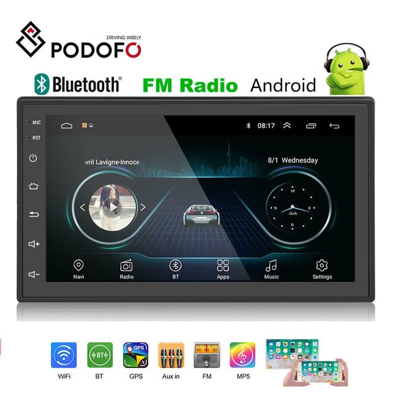 Podofo 2 2din Car Radio player multimídia Android Autoradio Din 7 ''tela de Toque GPS Bluetooth WIFI FM de áudio auto stereo jogador