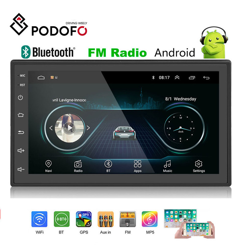Podofo 2din Auto Radio Android multimedia player Autoradio 2 Din 7'' Touch screen GPS Bluetooth FM WIFI auto audio-player stereo