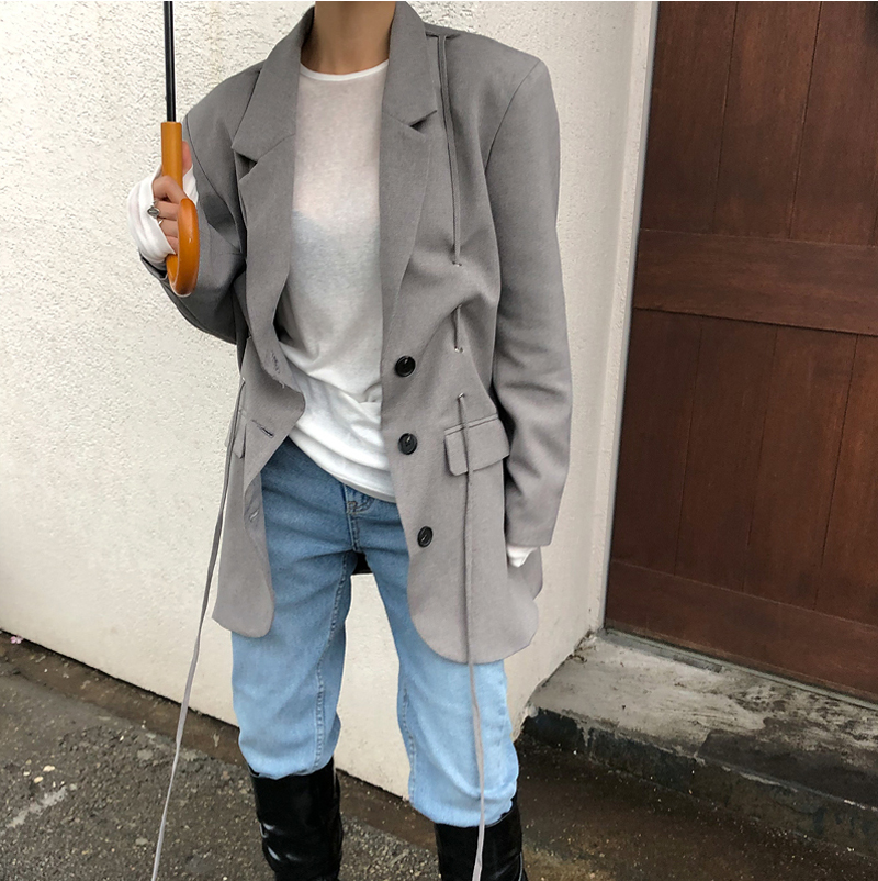 Drop Shipping Fashion Gray Oversized Women Blazer Jackets Vintage Single-breasted Female Suit Coat Feminino Blazers Outerwear