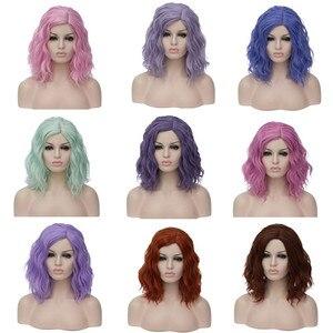 Image 1 - VICWIG perruques Cosplay synthétiques bouclées pour femmes, cheveux courts, bleus, violets, roses, verts, dorés, jaunes, en Fiber résistante à la chaleur