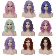 Vicwig Krullend Cosplay Pruiken Voor Vrouwen Korte Blauw Paars Roze Groen Golden Geel Zijscheiding Hittebestendige Vezel Synthetisch Haar