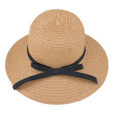 2019 Summer Fashion women Hat Sun Visor Panama Style Outdoor Beach Ribbon Wide Brim Straw cap accessories