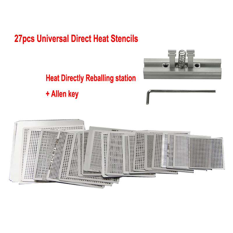 27pcs Universal Direct Heating BGA Stencil With Holder Template Holder Heated Fixture Reball Jig For SMT SMD Chips Reballing