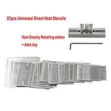 27 stücke Universal Direkt Heizung BGA Schablone mit Halter Vorlage Halter Erhitzt Leuchte reball Jig für SMT SMD chips reballing