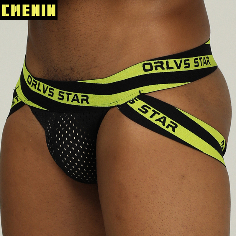CMENIN Brand Men Jockstrap Mesh Underwear G-Strings & Thongs Sexy Gay Thong Penis Pouch Bikini Buttocks Hollow Male Pantie 206