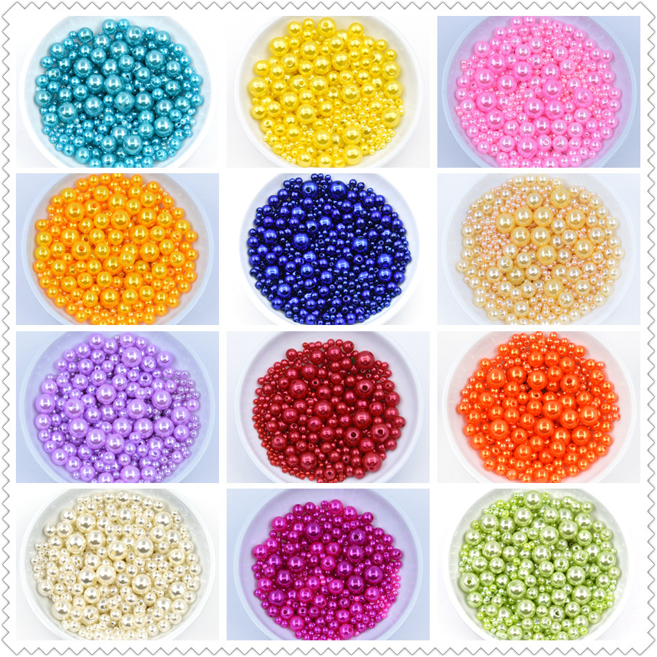 1000pcs/bag With Hole ABS Imitation Pearl Bead 3/4/6/8/10MM Round Plastic Acrylic Spacer Bead for DIY Jewelry Making Accessories(China)