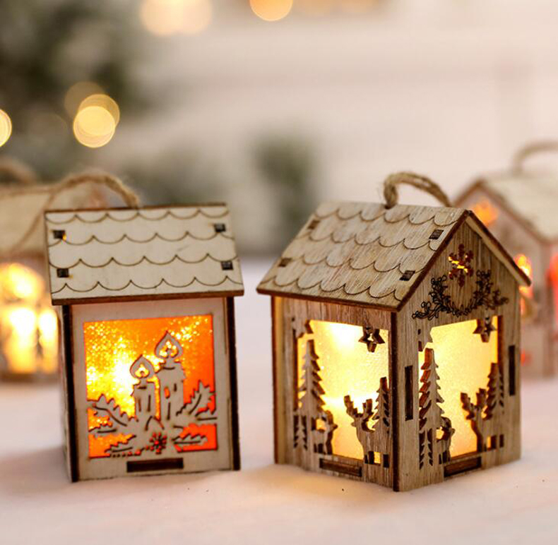 Christmas decoration pendant light cabin small wooden house