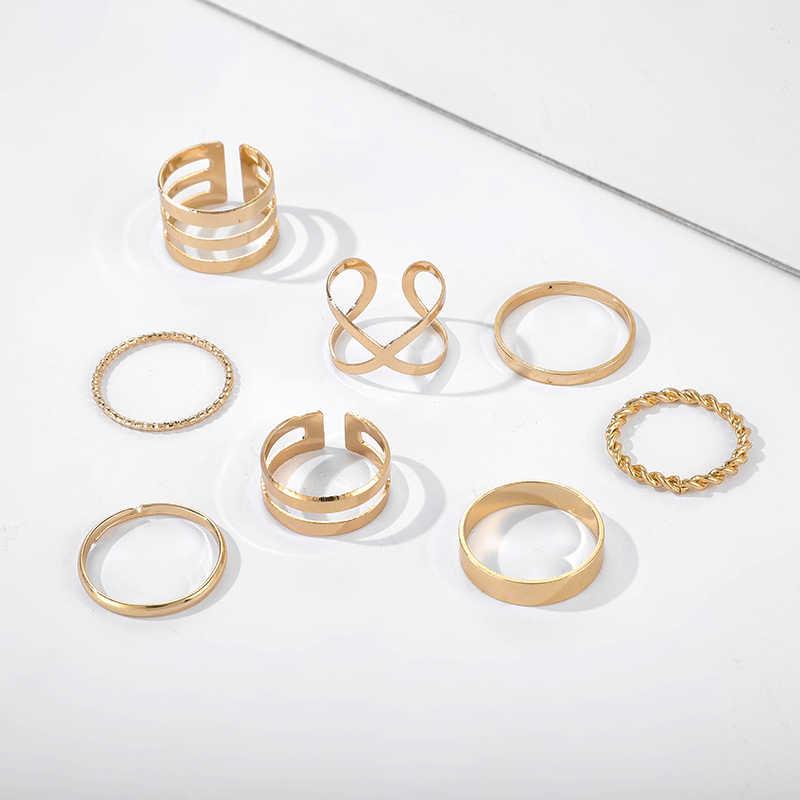 Tocona Bohemian Vintage Gold Crescent Geometrische Joint Ring Set Voor Vrouwen Kristal Persoonlijkheid Ontwerp Ring Set Sieraden Party 10287