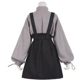2020 Retro Vintage Women Gothic Girls Punk Mini Dress High Waist Long Sleeve Hat Collar Sexy Gry Black Lolita Plus Size Jurken 2