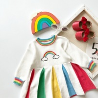 New Girls Knitted Dress In Autumn and Winter Kids Dresses for Girls Princess Dress Patchwork