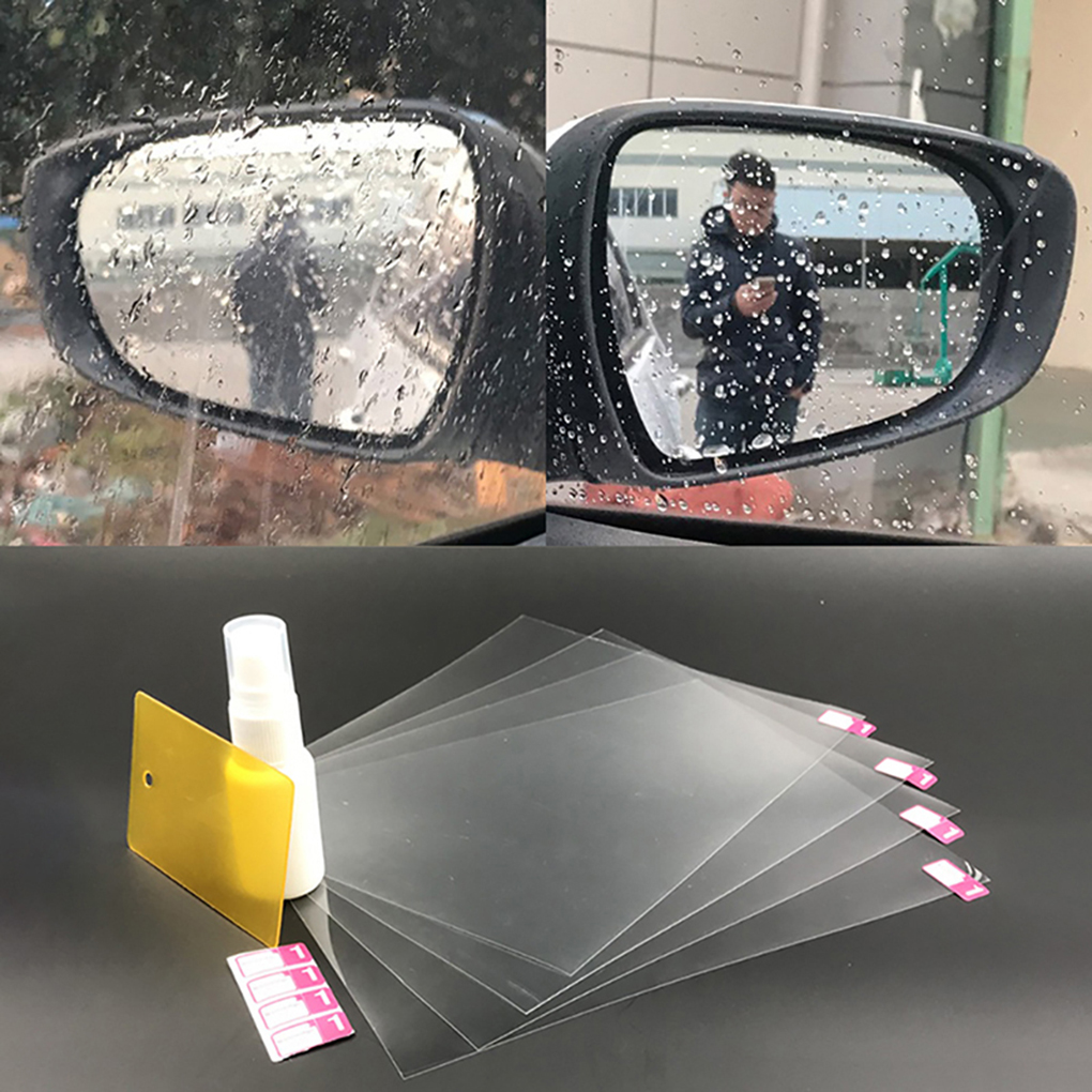 4PCS/Set Hydrophobic Film Rearview Mirror Rainproof Driving Safe Scratch-Resistant Stickers Waterproof Car Mirror Film