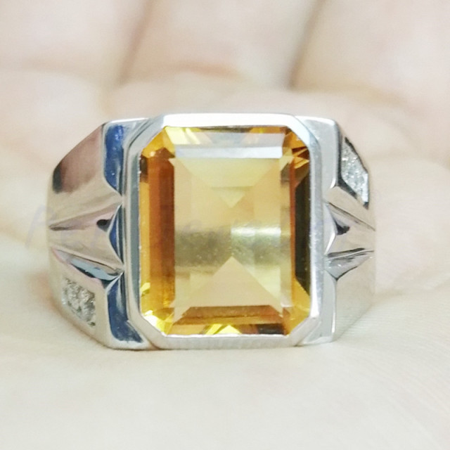 Men rings Natural real citrine ring Yellow crystal Free shipping 925 sterling silver Bezel setting ring 5.6ct gemstone #C981905