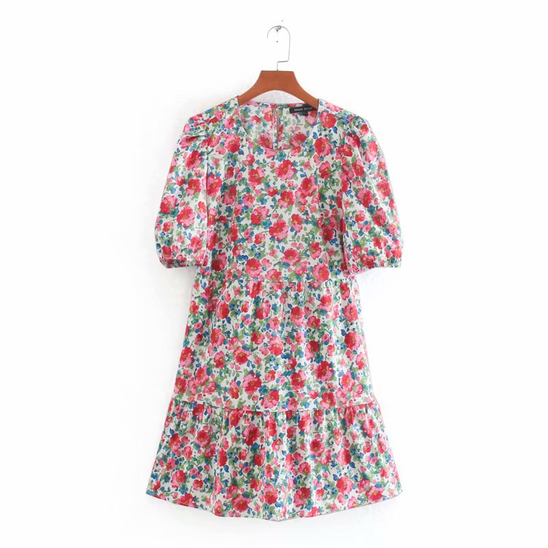 New 2020 women sweet floral print poplin mini dress French style o neck short sleeve vestidos femme pleats casual dresses DS3605