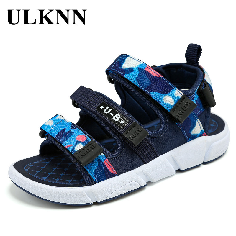 ULKNN BOY'S Sandals 2020Summer Big Boy Sandals 8-Year-Old 9-Year-Old 12-Year-Old CHILDREN'S Sandals Soft Bottom KIDS Shoes
