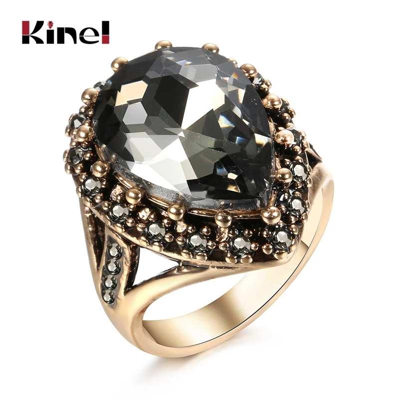 Kinel Boho Ethnic Bride Wedding Crystal Ring Antique Gold Color Big Zircon Stone Rings For Women Turkish Jewelry