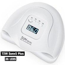 DCOVOR SUN X 54W 네일 건조기 UV LED 램프 LCD 디스플레이 36 LED 건조기 램프 경화 젤 폴란드어 자동 감지 네일 매니큐어 도구