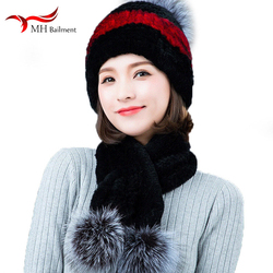 Ms. Rex Rabbit Silver Fox Fur Ball Scarf Hat Set Winter New Real 100% Rabbit Fur Fashion Warm Out Must-have Combination Set Cap