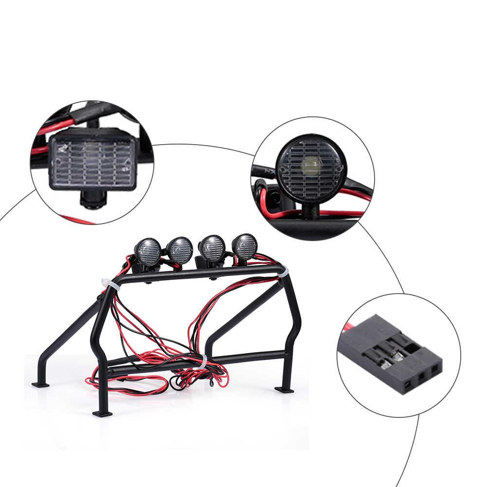 Piezas RC Cubo de jaula de Metal de alta calidad con 6 luces LED para 1/10 Axial SCX10 RC4WD RC Jeep camión juguetes chico