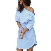 купить Summer Women Dress Blue Striped Shirt Short Dress Mini Sexy Side Split Half Sleeve Beach Dresses 2019 Plus Size Sundress 3XL по цене 1023.86 рублей