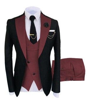 New Costume Slim Fit Men Suits Slim Fit Business Suits Groom Black Tuxedos for Formal Wedding Suits Jacket Pant Vest 3 Pieces 17