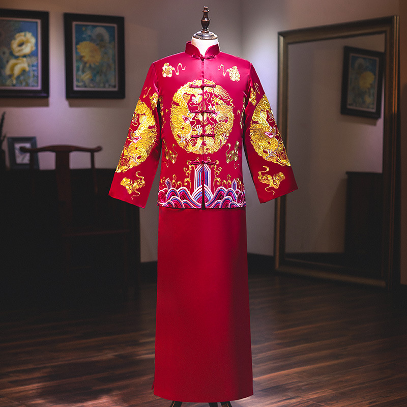 Ancient Royal Marriage Clothes Vintage Women Men Embroidery Cheongsam Suit Traditional Chinese Bride&Groom Wedding Costume