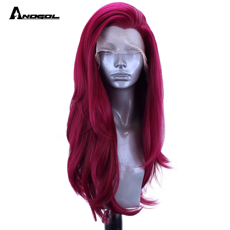 Anogol Burgundy Synthetic Lace Front Wig Long Natural Wave High Temperature Fiber For Women High Temperature Fiber Hair Wigs