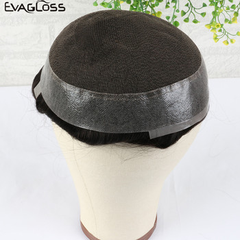 EVAGLOSS Toupee Hair Mens Swiss Lace PU Around Prosthesis Mens Wigs Hair Replacement System Pure Handmade For Men Wigs k s wigs durable hairpieces swiss lace thin pu toupee for men replacement system 100