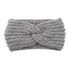 Fashion Winter Warmer Ear Knitted Headband Turban Women Crochet Wool Cross Wide Stretch Solid Hairband Headwrap Hair Accessories cheap CN(Origin) Cotton Unisex Adult Headbands striped A125
