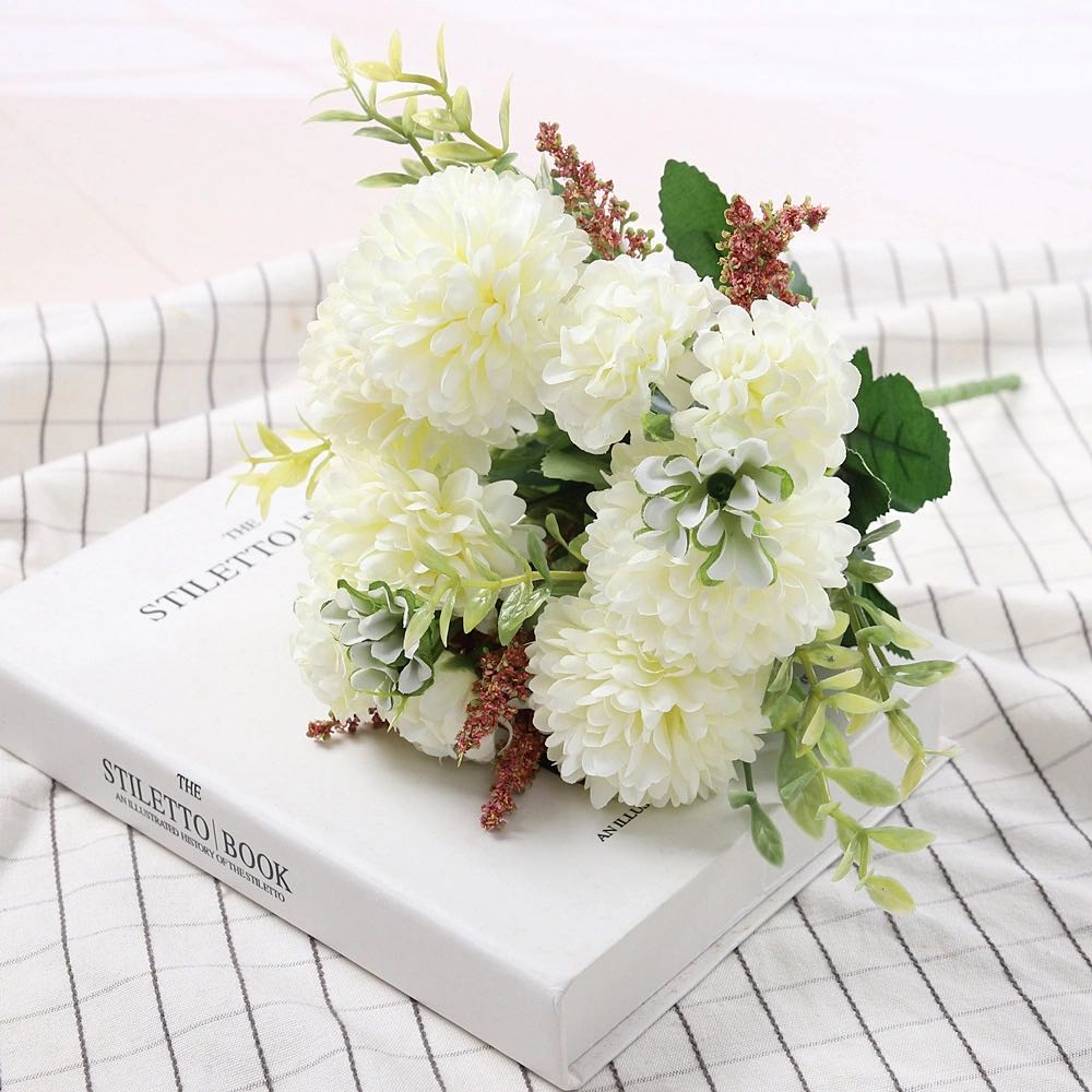 Peony Artificial Flowers High Quality Luxurious Bouquet Wedding Decoration for Home Table Decor Sky Blue Fake Flowers Hydrangea 12