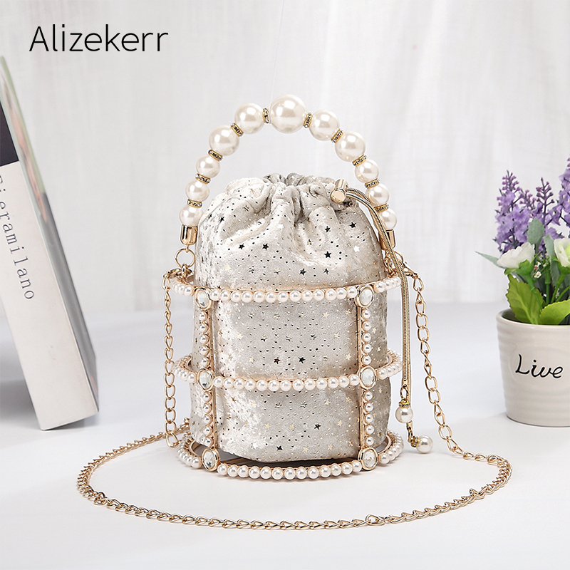 Alloy Metallic Pearl Bucket Evening Bag Women 2019 Luxury Handmade Hollow Out Diamonds Beaded Dinner Handbag Ladies Clutch Bag