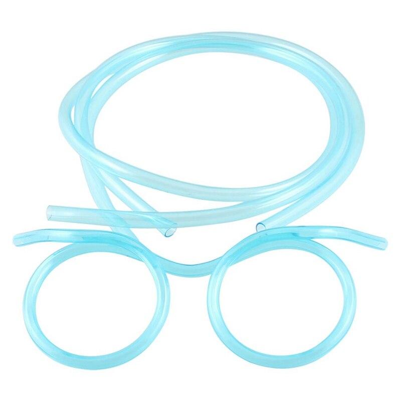 Clear Blue Plastic DIY Drinking Straw Glasses Eyeglasses For Children