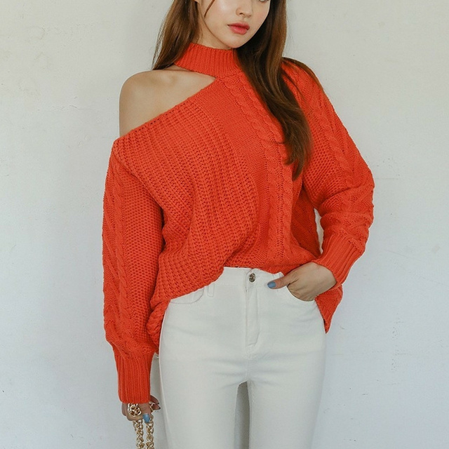 Ailegogo New 2021 Women's Sexy Sweaters Casual Minimalist Tops Sexy Korean Style Knitting Off Shoulder Ladies Autumn Winter 1
