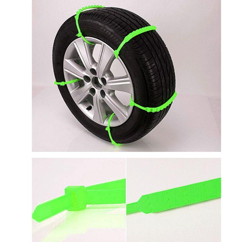10 Pcs Car Truck Snow Anti-skid Wheel Tire Chains Green Anti-slip Belt