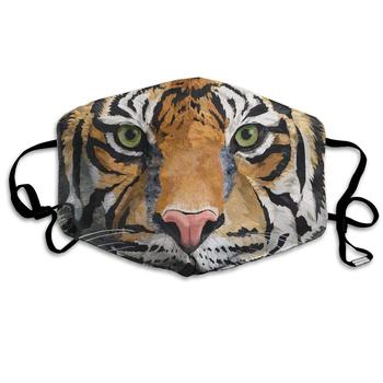 Tiger Face Fierce King Animal Washable Reusable   Mask, Cotton Anti Dust Half Face Mouth Mask For Kids Teens Men Women With