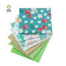 Shuanshuo 7 pz/lotto, Verde Foral Tessuto Twill di Cotone, patchwork di Stoffa Per Il FAI DA TE Quilting Cucito Baby & Bambini Lenzuola Materiale Vestito