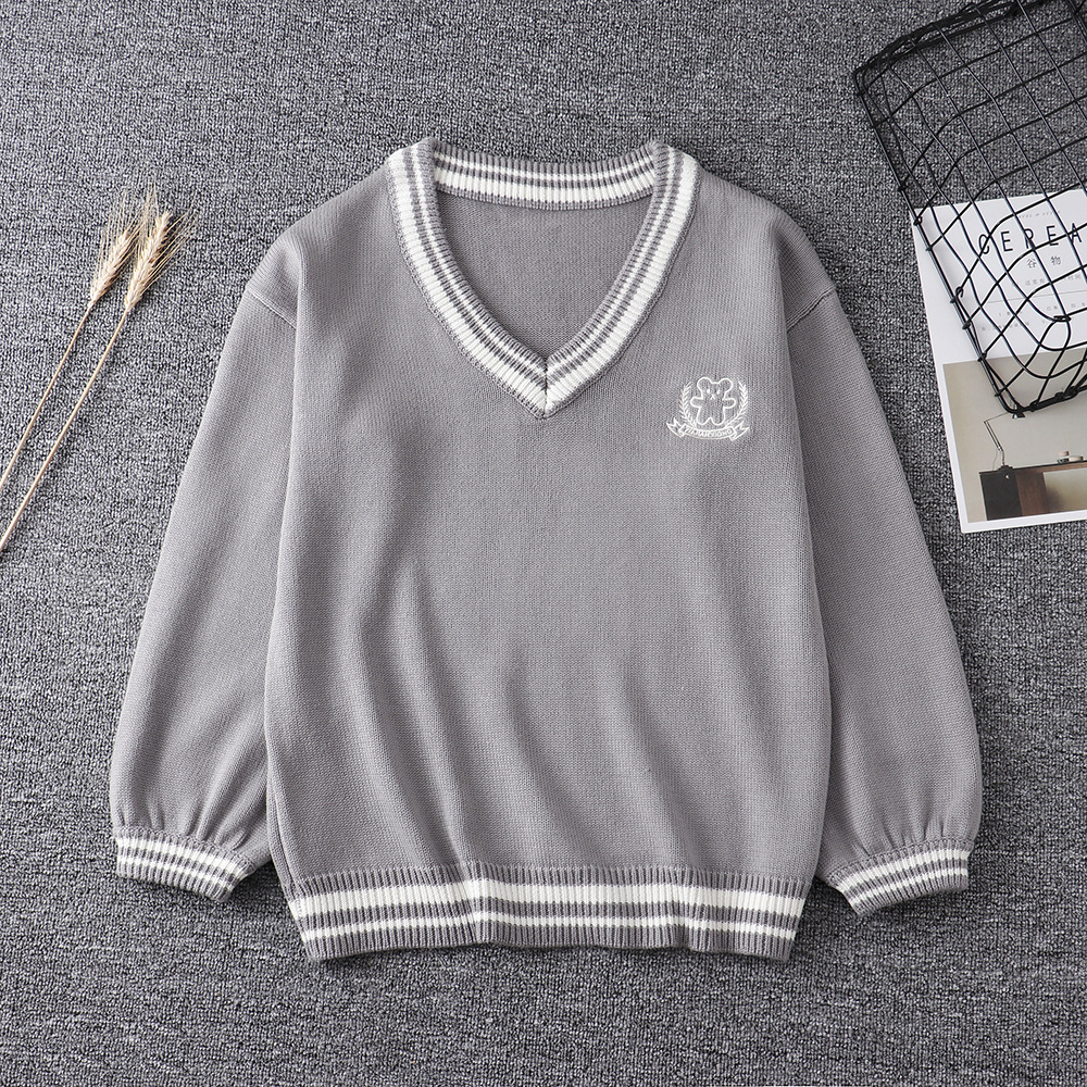 Japanese High School Uniform Couples Lovers Pullovers Man Women Long Sleeve Bear Embroidery Sweaters British Style Slim Knitwear