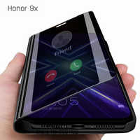 For Huawei Honor 9X Smart Mirror Flip Case For Huawei Honor9X Premium Global Case Cover On Honer 9 X X9 STK-LX1 6.59'' Caso Etui