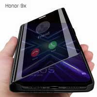 Per Huawei Honor 9X Intelligente Specchio di Vibrazione di Caso per Huawei Copertura Della Cassa Honor9X Premium Globale su Honer 9 X X9 STK-LX1 6.59 ''Caso Etui