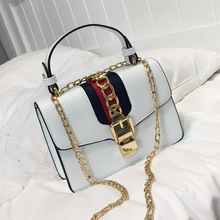Star with the chain lock small square bag ladies shoulder Messenger bag solid color PU handbag 2018 autumn and winter new 2018 new and creative messenger bag with the shape of ice cream cute chain bag designed for lovely girls