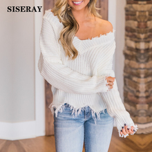Autumn Fashion V Neck Fringe Distressed Knitted Female Sweater Long Sleeve Cropped Pullover Loose Ripped Sweater Women недорого
