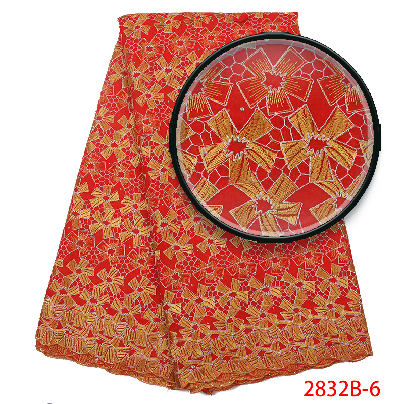 2019 African Dry Cotton Lace Fabrics Swiss Voile Lace High Quality African Dresses With Stones For Women KS2832B-6