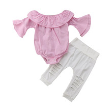 Get more info on the Newborn Baby Girl Floral  Striped Tops Romper Ripped Pants Outfits Clothes Set 9.3