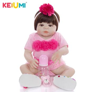KEIUMI 23 Inch Baby Reborn Full Silicone 57 cm Fashion Newborn Baby Doll Lifelike Simulation Doll Toy For Children's Day Gift