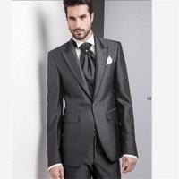 Grey High Quality Tailcoats Men Suit Blazer For Men Bespoke Long Tail Tuxedo Mens Wedding Suits 3 Pieces(Jacket+Pant+Vest)