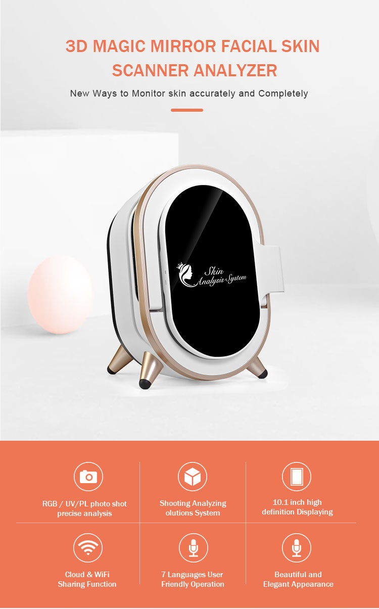 2020 newest facial analysis system melanin skin analyzer 3d magic mirror