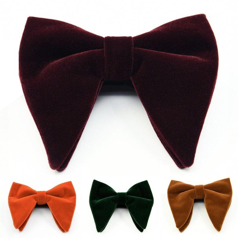 New Fashion Velvet Big Bowties For Women Mens Groom Wedding Bow Tie Skinny Solid Color Gravatas Slim Black Cravat Accessories